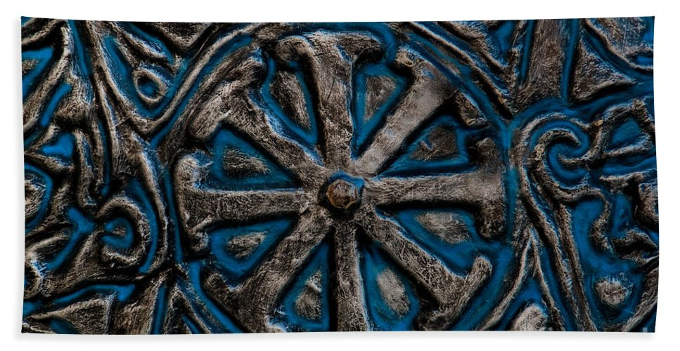 Blue Bath Sheet featuring the photograph Shield Of Time by Venetta Archer
