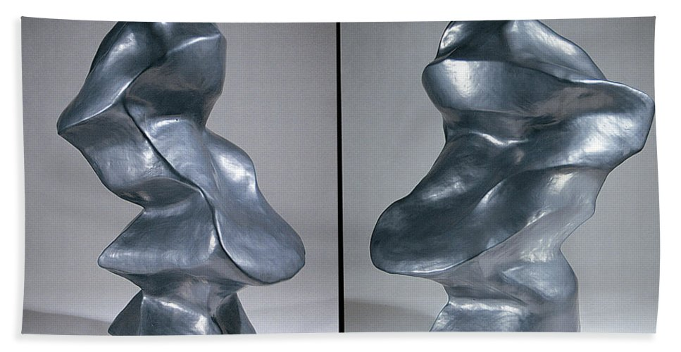 Shift Bath Sheet featuring the sculpture Shift Two Views by Jason Messinger