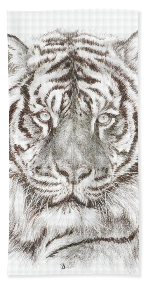Big Cat Bath Towel featuring the drawing Shimmer by Barbara Keith
