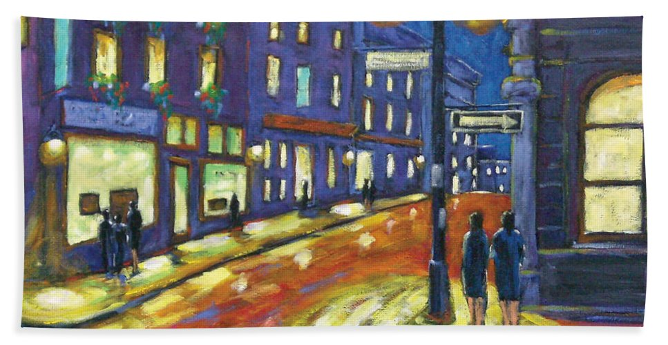 Night Bath Towel featuring the painting Shimmering Night by Richard T Pranke