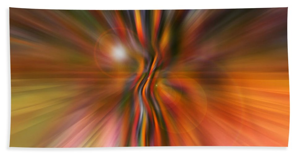 Abstract Art Hand Towel featuring the digital art Shine On by Linda Sannuti