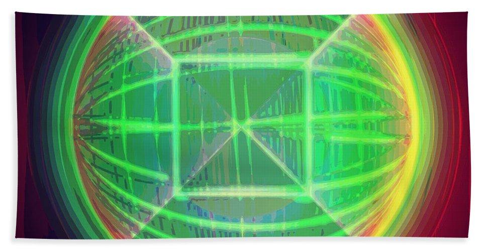 Art Bath Sheet featuring the digital art Shiny Globe by Marko Sabotin