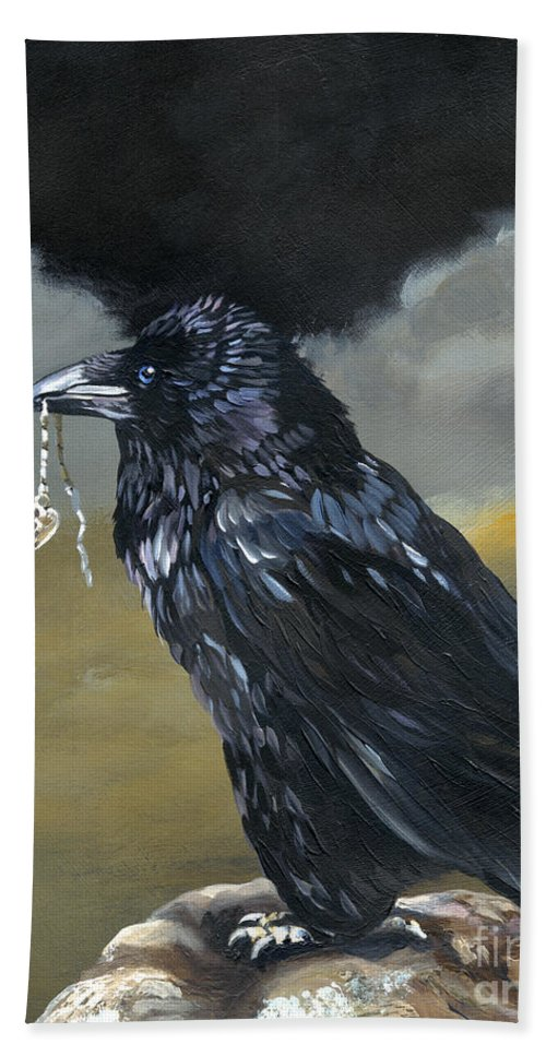 Raven Hand Towel featuring the painting Shiny by J W Baker