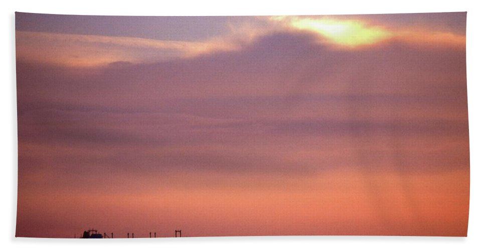 Cloud Hand Towel featuring the photograph Ship At Sea Two by Lyle Crump