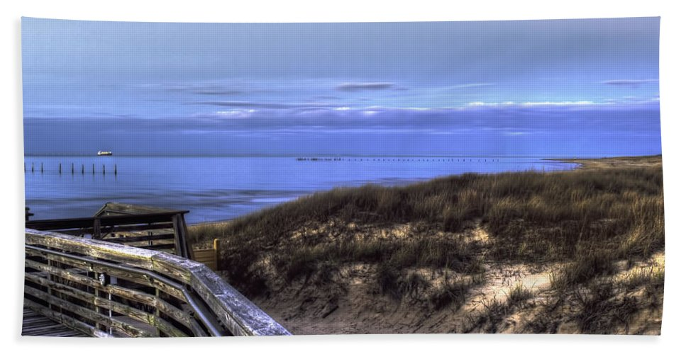 Cargo Ship Off The Coast Of Virginia Beach Hand Towel featuring the photograph Ship To Shore by Pete Federico