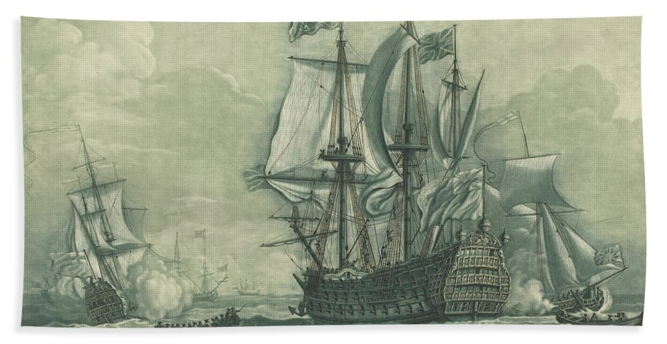 Hand Towel featuring the drawing Shipping Scene With Man-of-war by Elisha Kirkall After Willem Van De Velde The Younger