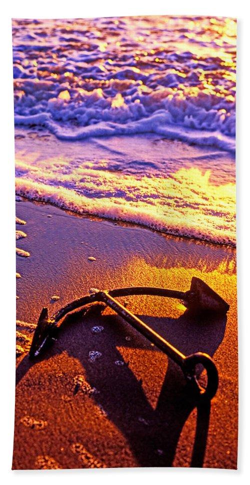 Ships Anchor Beach Bath Sheet featuring the photograph Ships Anchor On Beach by Garry Gay