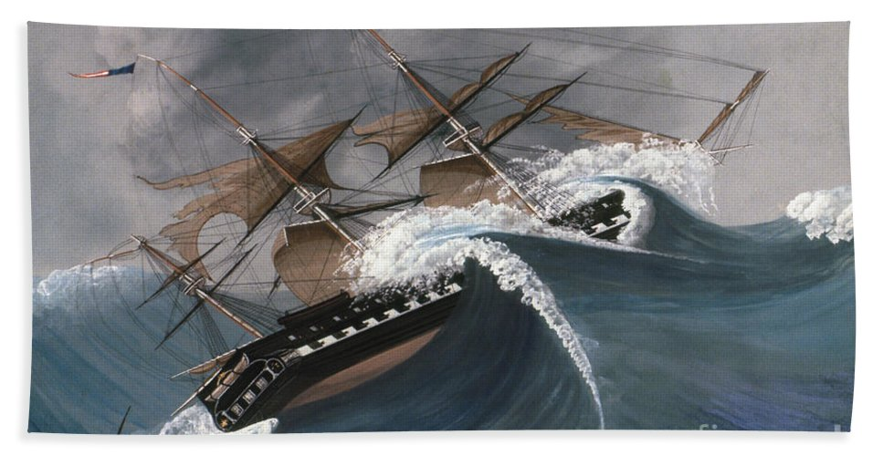 18th Century Hand Towel featuring the photograph Shipwreck by Granger