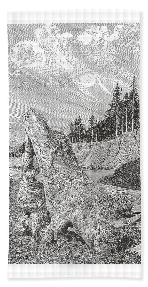 Nautical Marine Driftwood Hand Towel featuring the drawing Shipwrecked by Jack Pumphrey