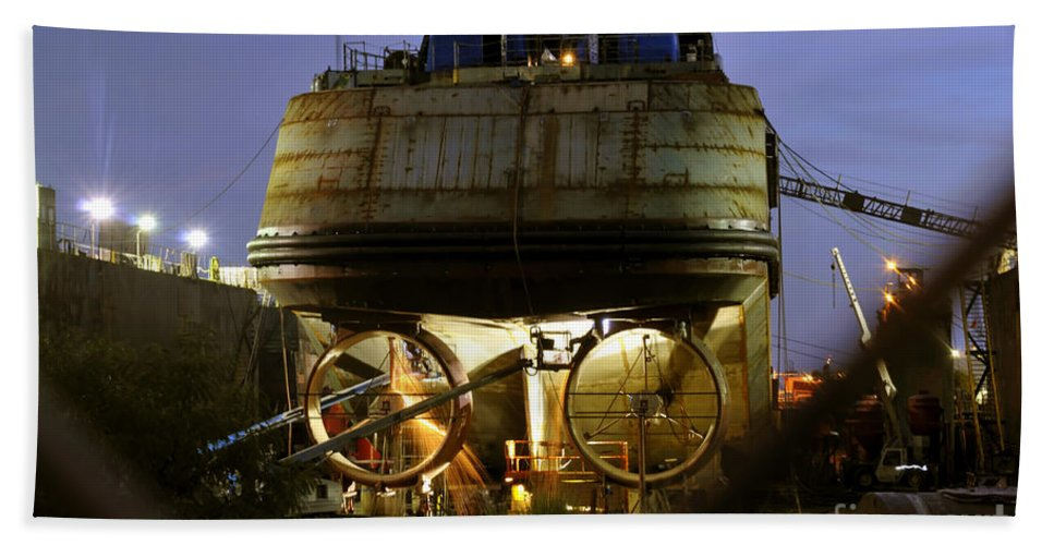 Shipyard Hand Towel featuring the photograph Shipyard Work by David Lee Thompson
