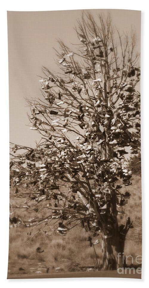 Sepia Hand Towel featuring the photograph Shoe Tree In Sepia by Carol Groenen