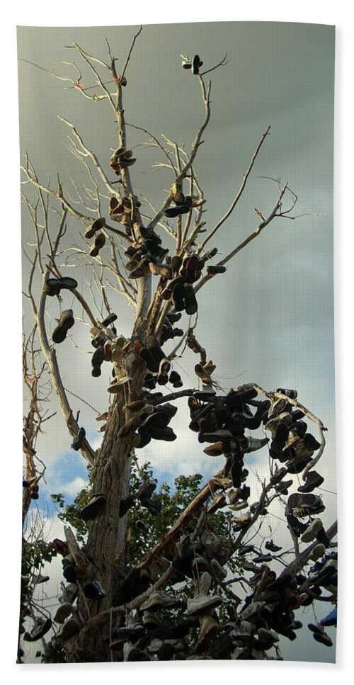 Tree Bath Sheet featuring the photograph Shoe Tree by Sara Stevenson