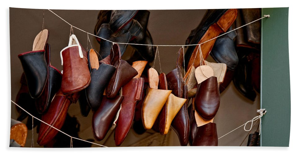 Shoes Hand Towel featuring the photograph Shoes For Sale by Christopher Holmes
