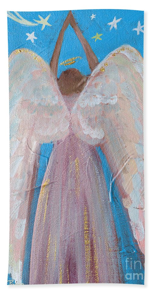 Wings Hand Towel featuring the painting Shooting Star Angel by Robin Maria Pedrero