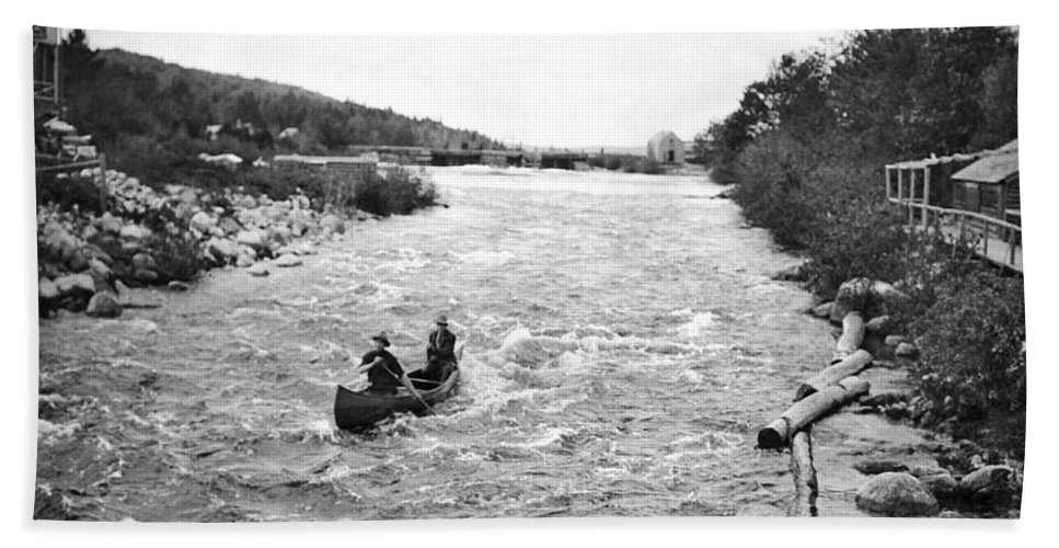1910s Hand Towel featuring the photograph Shooting The Rapids In Maine by Underwood Archives