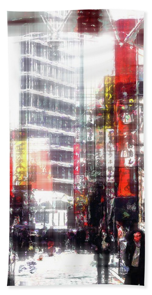 Japan Bath Towel featuring the digital art Shopping Downtown by Phil Perkins