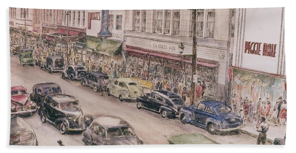 Print Greensboro History Bath Sheet featuring the painting Shopping On Elm St. 1949 by Maggie Clark