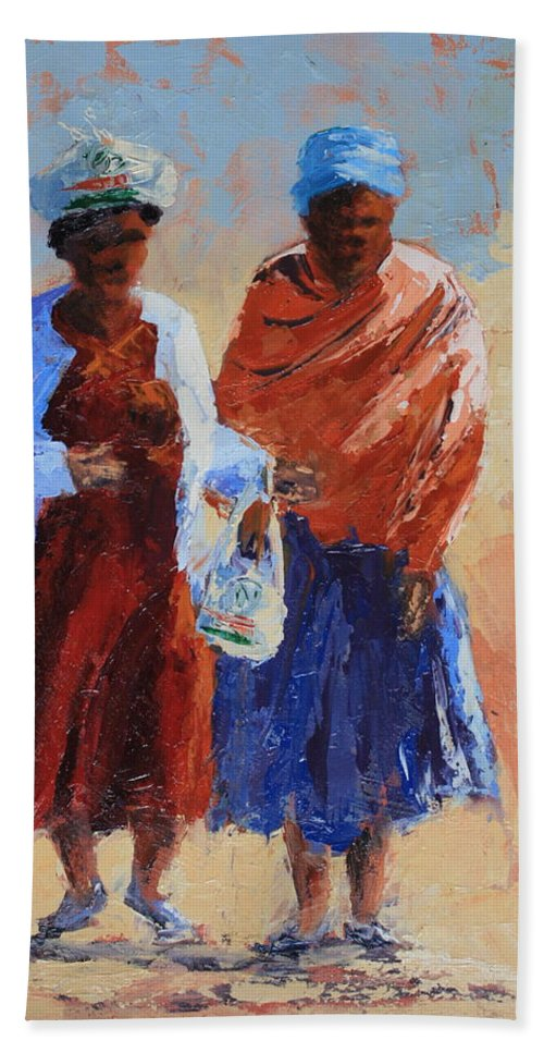 Figures Hand Towel featuring the painting Shopping by Yvonne Ankerman