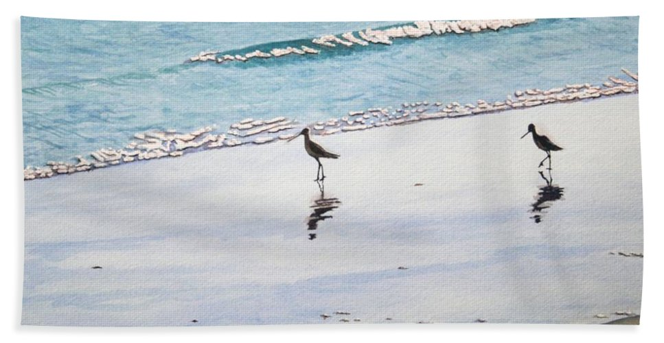 Water Hand Towel featuring the painting Shore Birds by Mike Robles