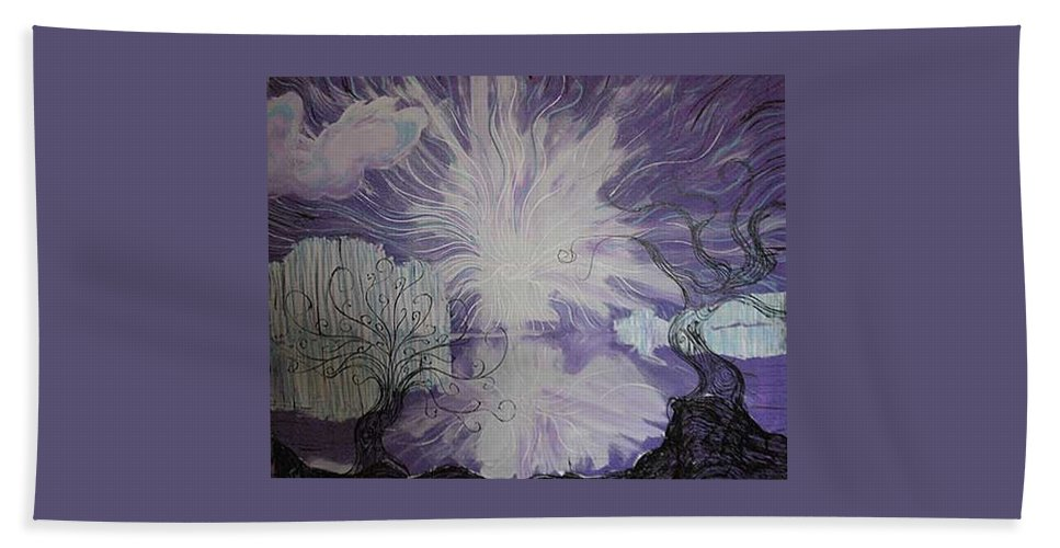 Squiggleism Bath Towel featuring the painting Shore Dance by Stefan Duncan