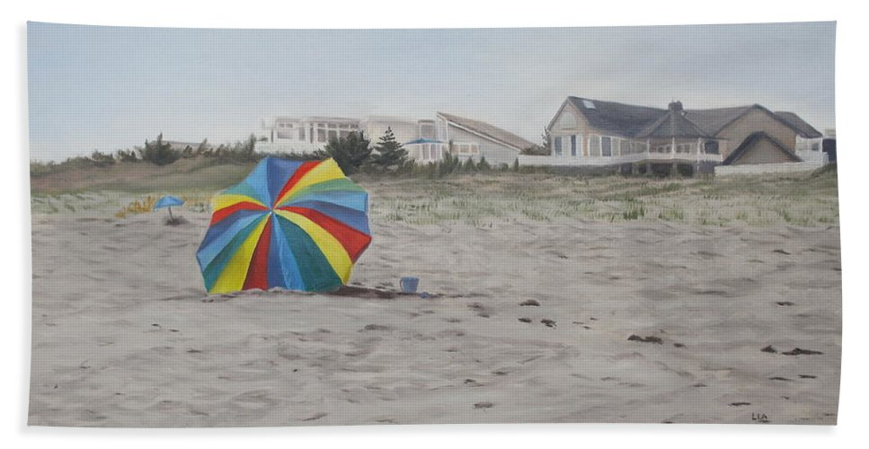 Beach Umbrella Bath Towel featuring the painting Shore Dreams by Lea Novak
