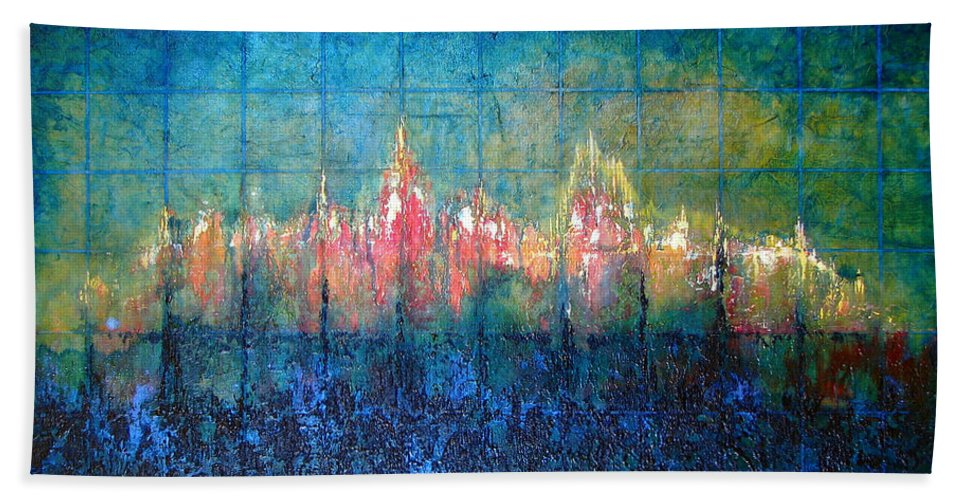 Seascape Bath Sheet featuring the painting Shorebound by Shadia Derbyshire