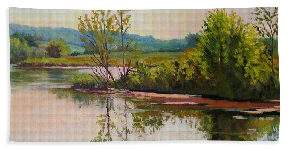 Impressionism Hand Towel featuring the painting Shoreline At Evening by Keith Burgess