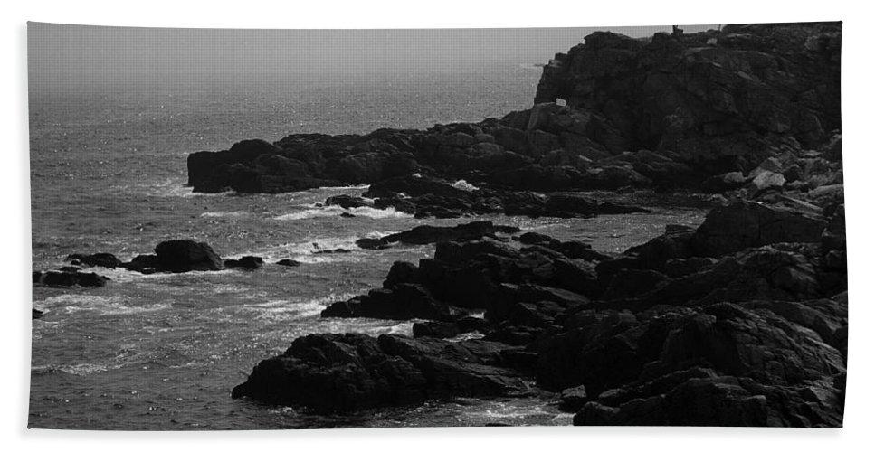 America Bath Sheet featuring the photograph Shoreline - Portland, Maine Bw by Frank Romeo