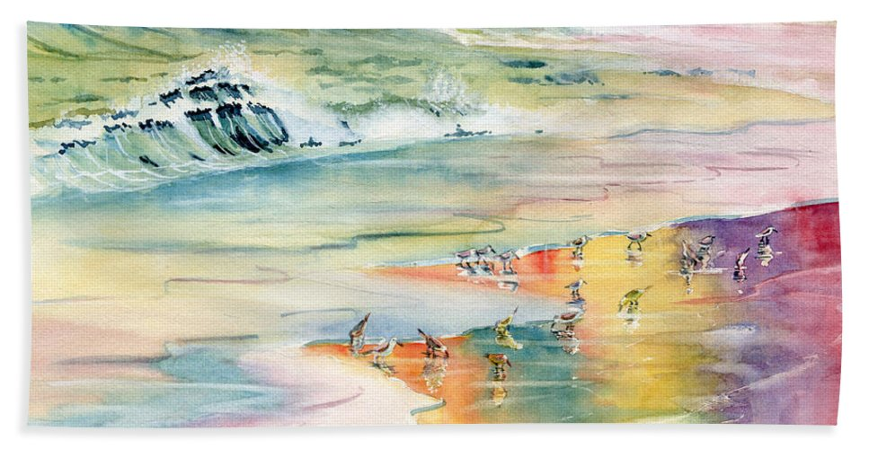 Shoreline Bath Sheet featuring the painting Shoreline Watercolor by Melly Terpening