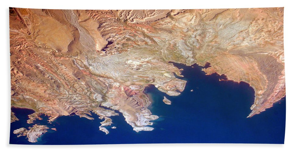 Abstract Bath Sheet featuring the photograph Shores Of Lake Mead Planet Art by James BO Insogna