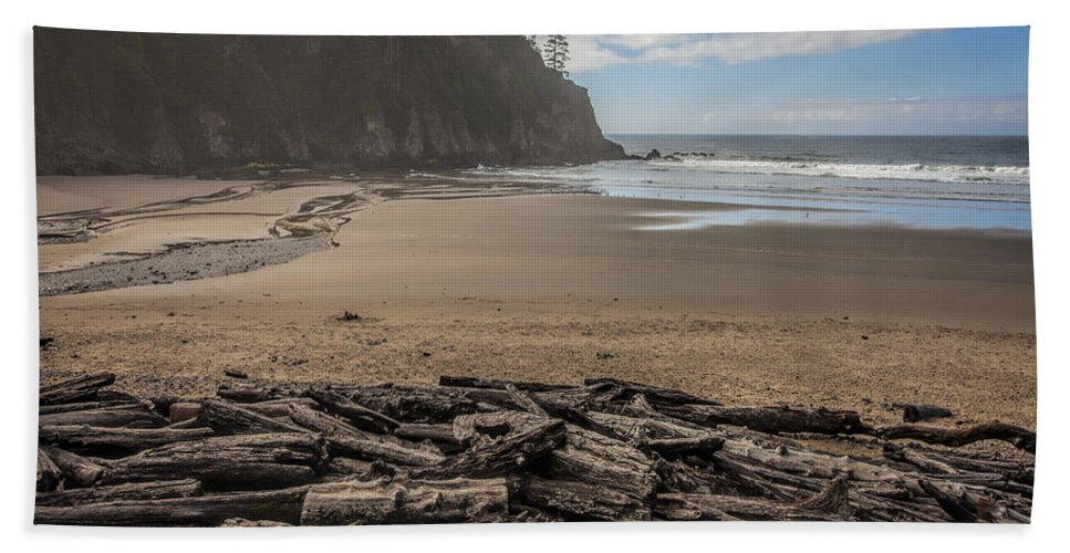 Oregon Bath Sheet featuring the photograph Short Sands Logs by Diana Powell
