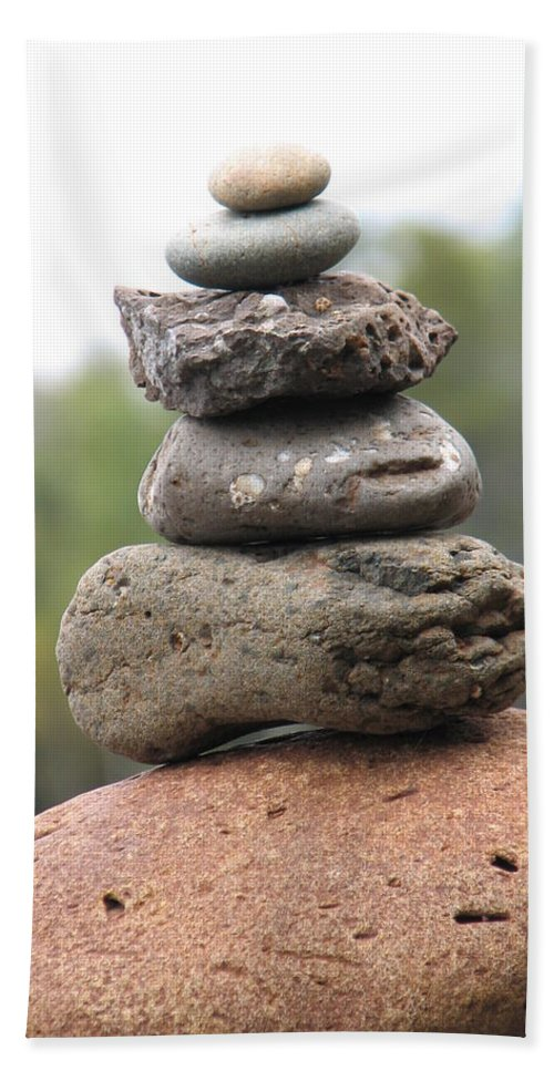 Rocks Hand Towel featuring the photograph Short Stack by Kelly Mezzapelle
