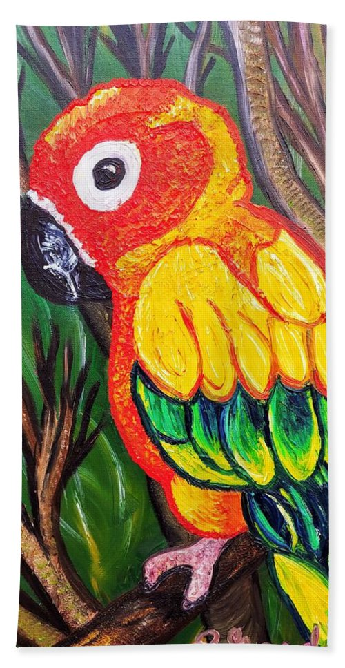 Sun Conure Hand Towel featuring the painting Shorty by Elizabeth Goodermote