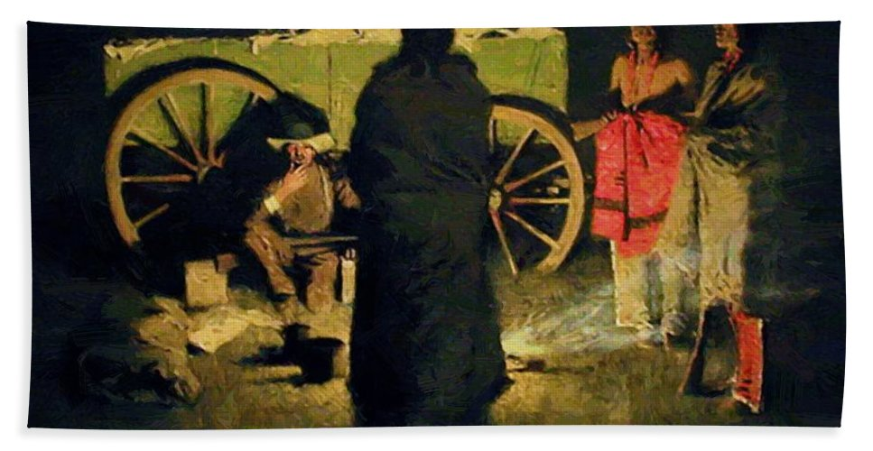 Shotgun Hand Towel featuring the painting Shotgun Hospitality 1908 by Remington Frederic