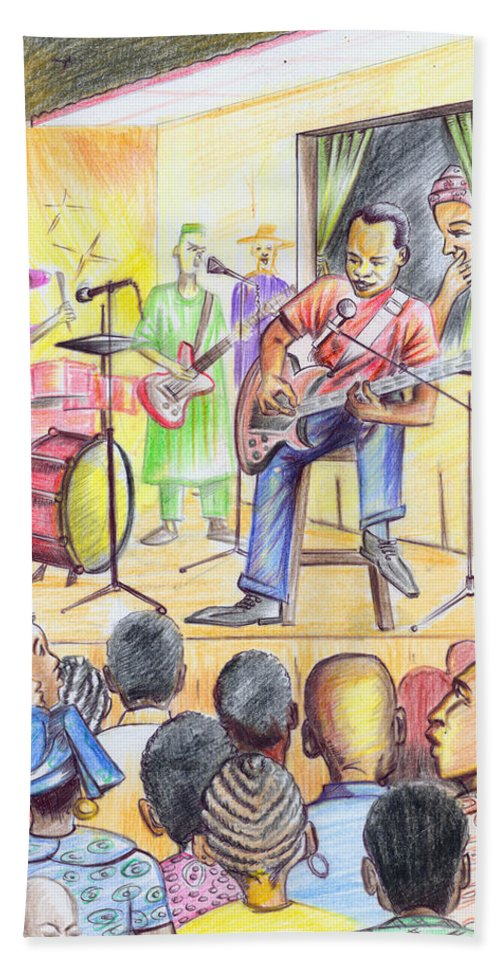 Music Bath Sheet featuring the painting Show In Yaounde by Emmanuel Baliyanga