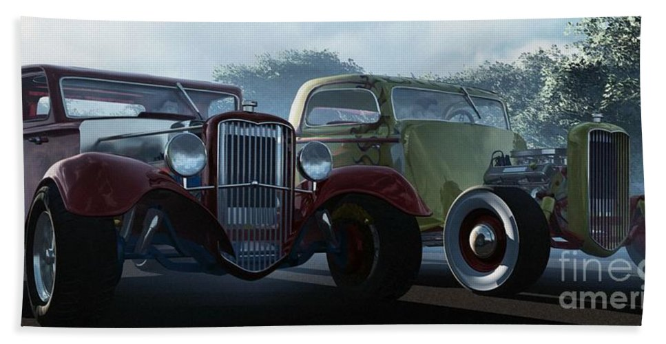 Hot Rods Hand Towel featuring the digital art Showdown by Richard Rizzo