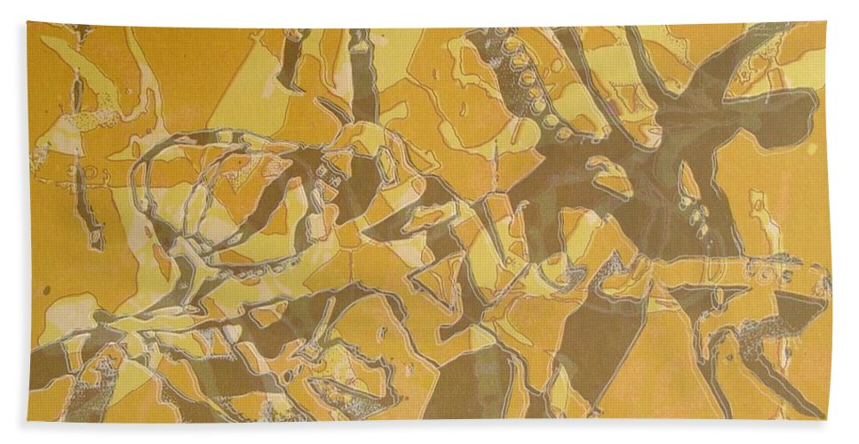 Abstract Hand Towel featuring the digital art Shredded Notebook Stencil by Ron Bissett