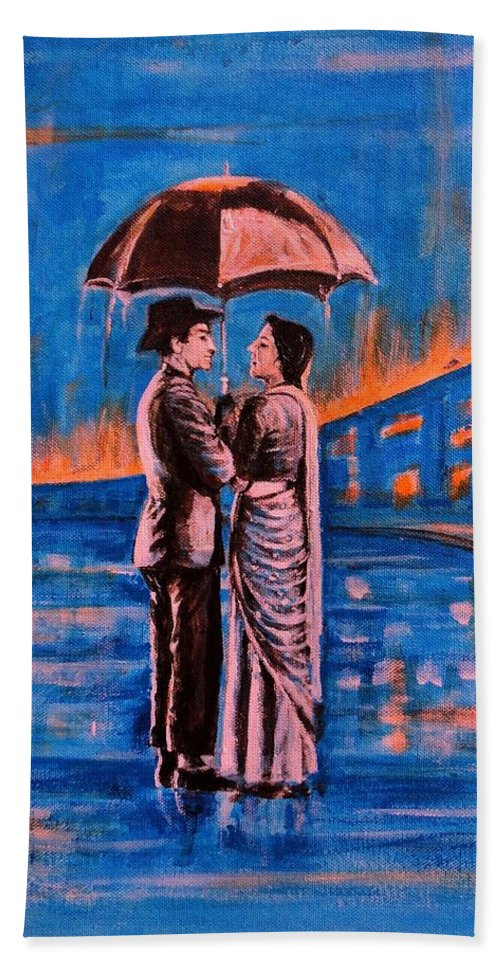 Shree Hand Towel featuring the painting Shree 420 by Usha Shantharam