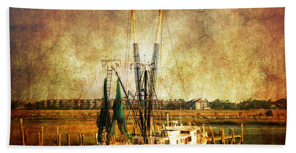 Shrimp Boat Hand Towel featuring the photograph Shrimp Boat In Charleston by Susanne Van Hulst