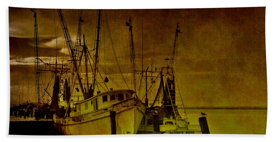 Shrimp Boat Hand Towel featuring the photograph Shrimpboats In Apalachicola by Susanne Van Hulst