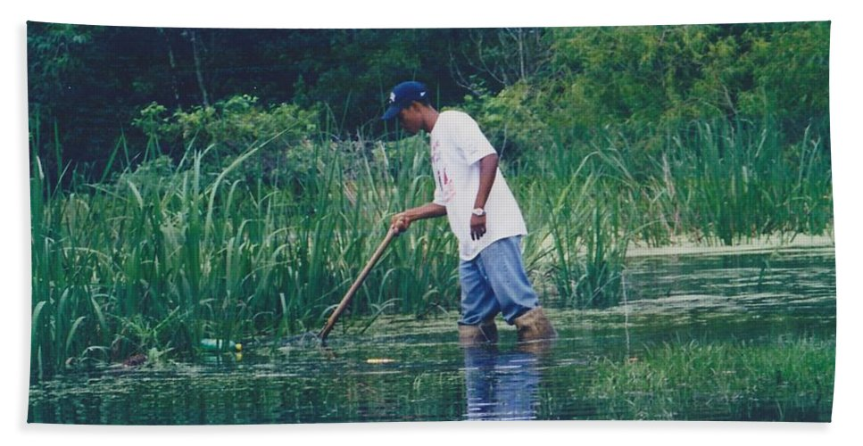 Landscape Hand Towel featuring the photograph Shrimping In The Bayou by Michelle Powell