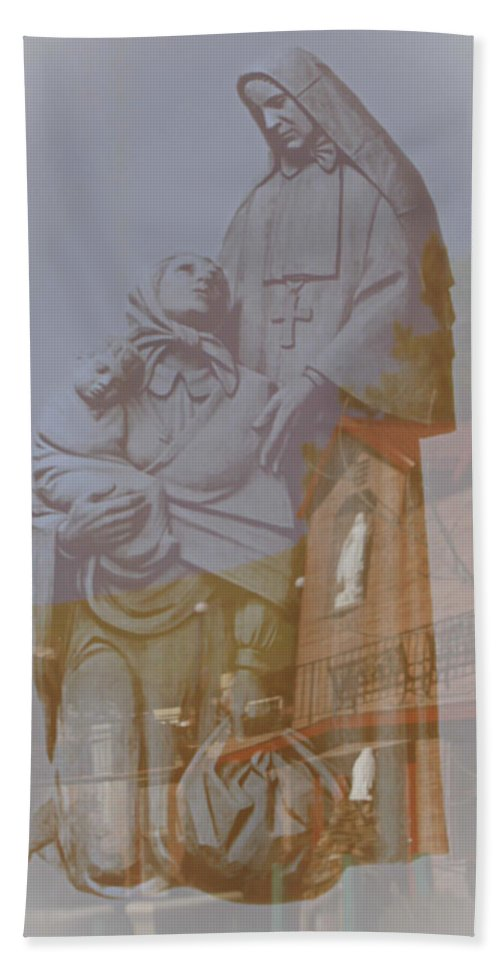Cabrini Bath Sheet featuring the photograph Shrine Reflections by Colleen Coccia