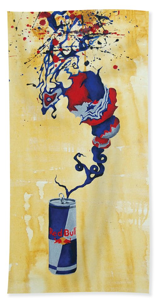 Redbull Hand Towel featuring the painting Shroud Of Taurine by Jacqueline DelBrocco