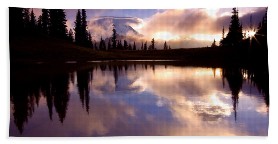 Rainier Bath Towel featuring the photograph Shrouded In Clouds by Mike Dawson