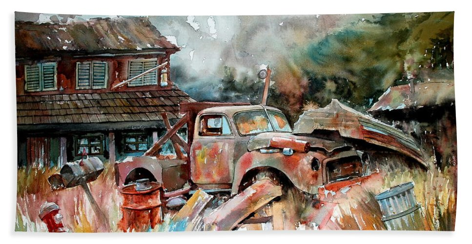 Truck Bath Sheet featuring the painting Shuttered And Cluttered And Gone by Ron Morrison