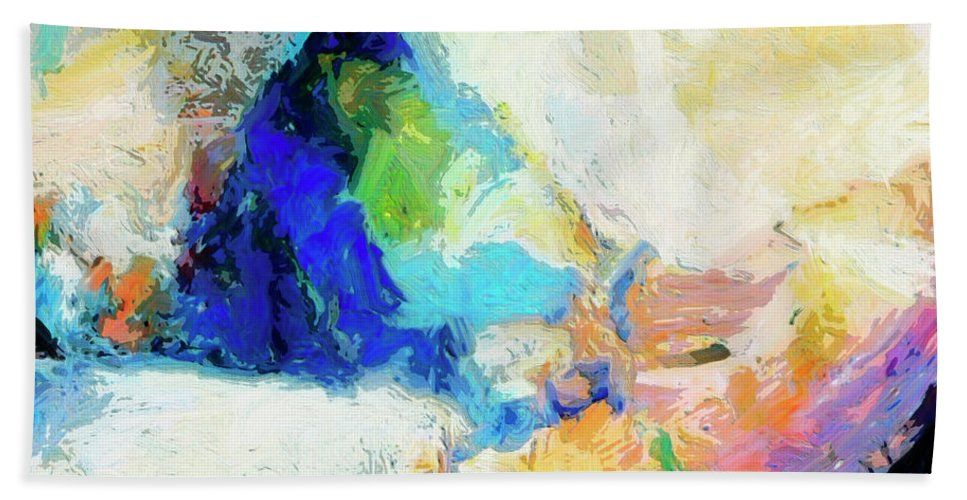 Abstract Hand Towel featuring the painting Shuttle by Dominic Piperata
