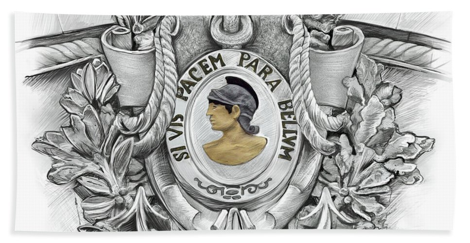 Si Vis Pacem Bath Sheet featuring the drawing Si Vis Pacem Para Bellum by Doug LaRue