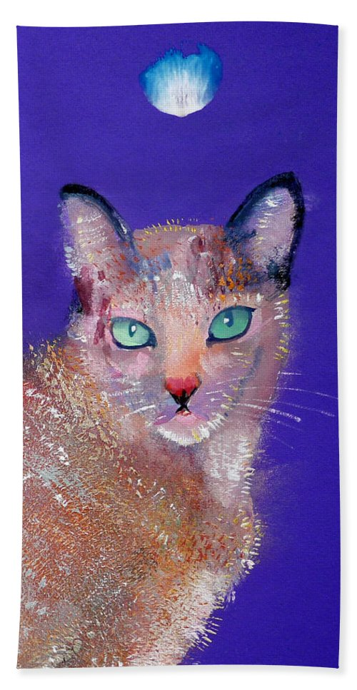 Cat Bath Towel featuring the painting Siamese Cat by Charles Stuart