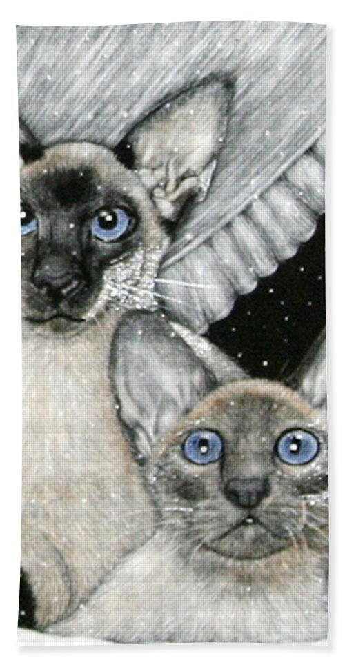 Cats Bath Sheet featuring the painting Siamese Cats by Angie Cockle