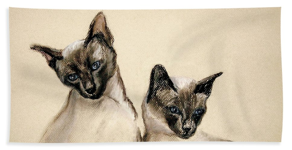 Cat Hand Towel featuring the drawing Sibling Love by Cori Solomon